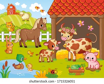Farm with animals in cartoon style. Vector illustration with pets. Large set of animals and birds.