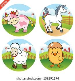 Farm animals clipart (VECTOR)