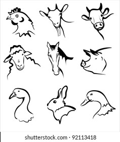 farm animals collection of symbols in simple black lines