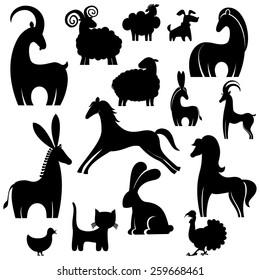 Farm animals collection. vector silhouette.