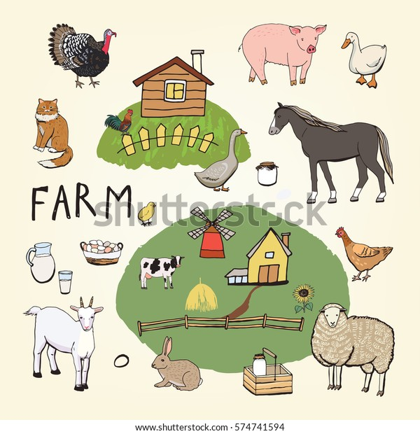 Farm Animals Color Set Stock Vector (Royalty Free) 574741594