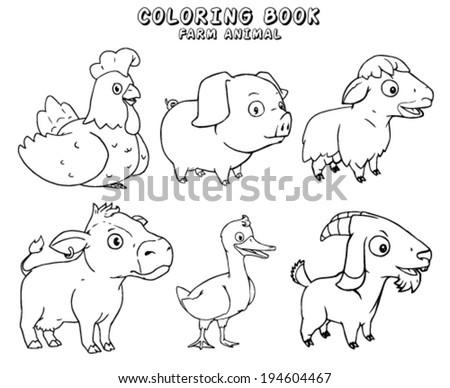 Farm Animals Coloring Stock Vector Royalty Free 194604467