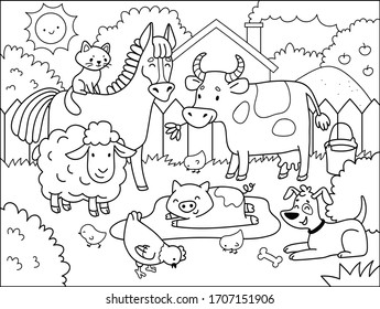Farm animals.  Coloring book for children. Cartoon vector illustration.