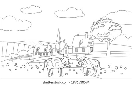 Farm animals coloring book educational illustration for children. Cute cow and bull, rural landscape colouring page. Vector black white outline cartoon characters