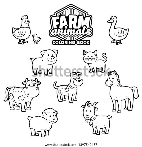- Farm Animals Coloring Book Vector Stock Vector (Royalty Free) 1397542487