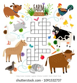 Farm animals crossword. Kids crossing word search puzzle game with cat and cow, dog and cock, horse and duck vector illustration