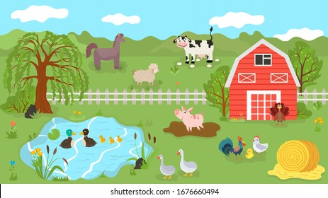 Farm animals cute cartoon characters on summer pasture, vector illustration. Farmland livestock, cow, pig, sheep and horse. Ranch poultry, chicken, turkey, geese and ducks. Farm animal grazing outdoor