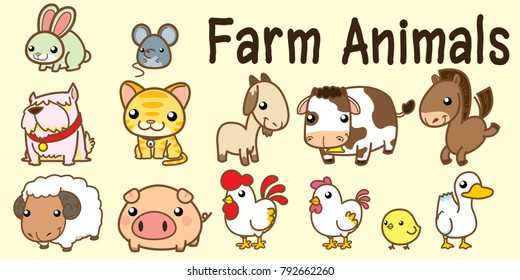 Farm Animals, Cute Vector