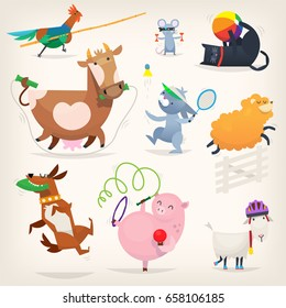 Farm animals do morning exercises and play sports. Vector illustrations with healthy animal characters.