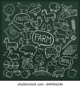 Farm Animals Doodle Icon Chalkboard Sketch
