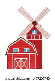 farm, animals and farmer barn and windmill icon cartoon vector illustration graphic design