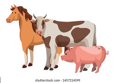 farm, animals and farmer horse, pig and cow icon cartoon vector illustration graphic design
