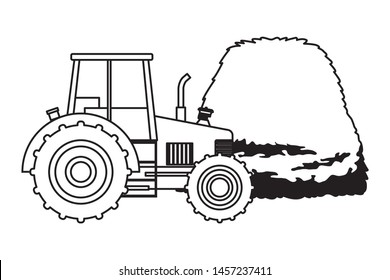 farm, animals and farmer farm tractor with hay icon cartoon in black and white vector illustration graphic design