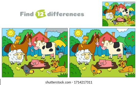 Farm animals. Find 12 differences. Educational game for children. Cartoon vector illustration.