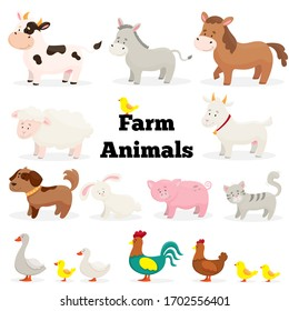 Farm animals in flat style. Isolated over white background. Collection of cute cartoon animals: cow, goat, horse, pig, donkey, sheep, dog, cat, rabbit, rooster, chicken, chickens, goose, duck.