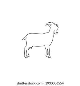 Farm Animals Goat Line Icon Vector Illustration