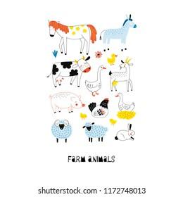 Farm animals graphic poster