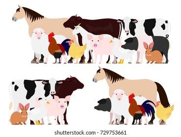 Farm animals group set