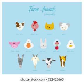 Farm animal's heads -  vector