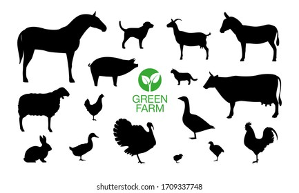 Farm Animals Icon Set With Green Farm Logo.