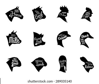 Farm animals icons collection. Butchery labels templates isolated on white.