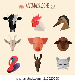 Farm Animals Icons on White Background in Flat Style