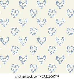 Farm animals icons pattern. Domestic fowl seamless background. Seamless pattern vector illustration