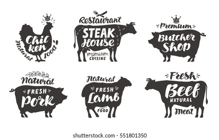 Farm animals icons set. Collection of labels with beautiful letterings such as chicken, beef, pork, lamb, butcher shop, steak house. Vector illustration