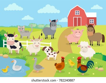 Farm animals with landscape - cow, pig, sheep, horse, rooster, chicken, donkey, hen, goose, duck, goat, cat, dog. Cute cartoon vector illustration in flat style
