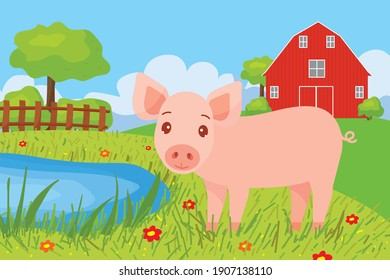 Farm animals with landscape. Cute vector illustration in cartoon style with baby pig, farm and house. Illustration for the design of a postcard, calendar, puzzles, children's book, poster.