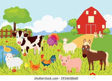 Farm animals with landscape: sheep, goat, pig, cow, horse, kitten, dog, duck, chick, chicken, rooster, turkey, house with a lawn and a lake. Cute vector illustration in cartoon style.