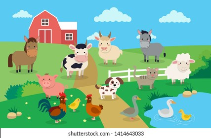 Farm animals with landscape - vector illustration in cartoon style, children's book illustration