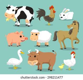 Farm Animals like Cow, Rooster, Cock, rabbit, pig, sheep, horse, duck, bull, hen, chicken. Vector illustration cartoon.