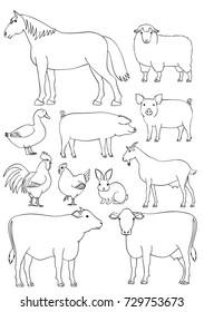 Farm animals line art set