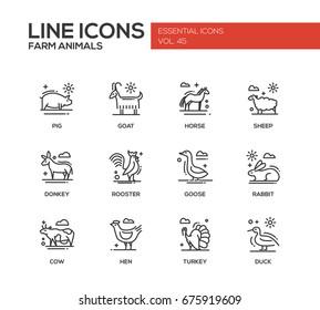 Farm animals - line design icons set
