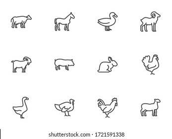 Farm animals line icons set. linear style symbols collection, animals side view outline signs pack. vector graphics. Set includes icons - cow, pig, sheep, goat, rooster, chicken, turkey, rabbit, goose