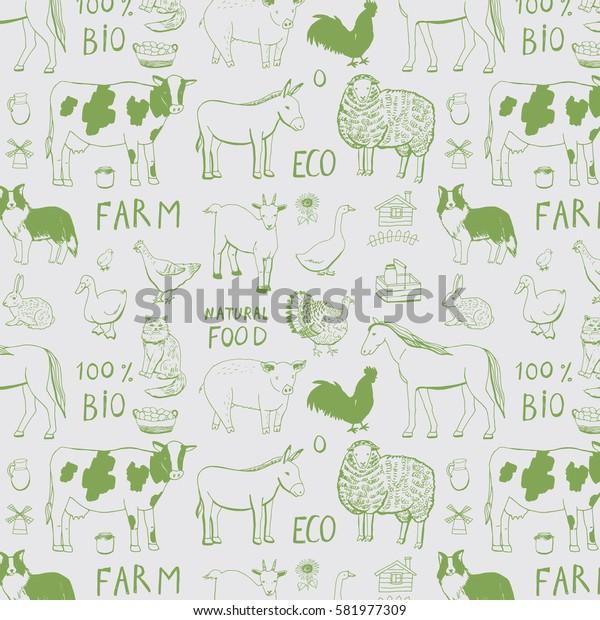 farm animals line pattern