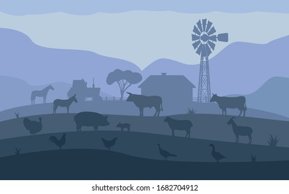 Farm animals. Livestock on the background of the village, rural settlement. Vector illustration of farm animals silhouette in the dark. Landscape evening village ranch with livestock.