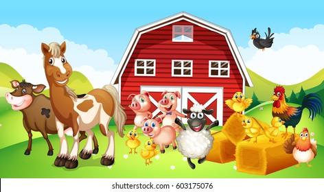 Animales de granja que viven en la ilustración de la explotación