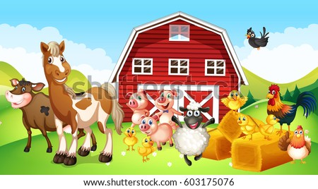 farm animals living on farm illustration stock vector royalty free