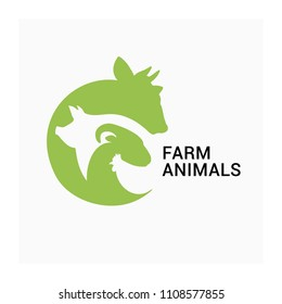 Farm animals logo, farmers market vector icon, animal husbandry logo. Vector group of cow, pig, sheep, ram, chicken