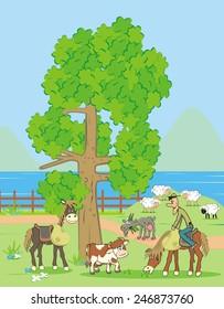 farm animals and man o horse, vector icon