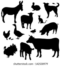 Farm animals on a white background - vector silhouette