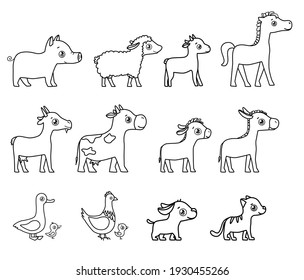 Farm animals outline doodle style. Cow, sheep,horse,goat,cat,dog,hen,donkey.
