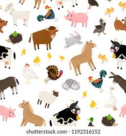 Farm animals pattern on white background, vector illustration