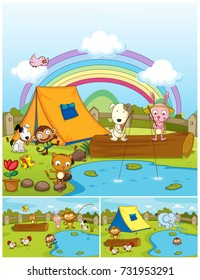 Farm animals playing in the park illustration