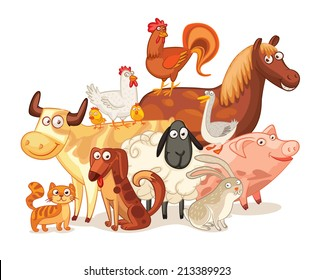 Farm Animals, posing together. Funny cartoon character. Vector illustration. Isolated on white background. Set