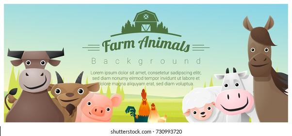 Farm animals and Rural landscape background , vector , illustration