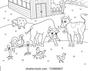 Farm animals and rural landscape coloring book for adults vector illustration. Anti-stress for adult cow, sheep, bird, building. Zentangle style sky. Black and white lines listen sun Lace pattern nature