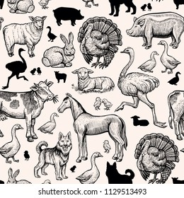 Farm Animals Seamless Pattern. Vintage engraving horse, cow and pork, chicken,duck and ostrich. Turkey,lamb and sheep, horse. Handdrawn Black Sketch Outline vector design for print